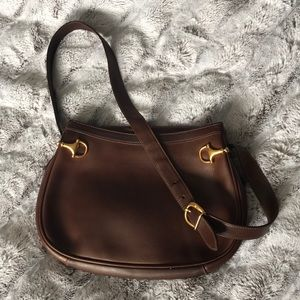 Vintage Gucci Leather Brown Horse Bit Shoulder Bag